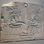 Figure 7 - Berlin Stela which Arnold suggests represents Akhenaten attending Neferttiti in her Birth Bower / Mamissi
