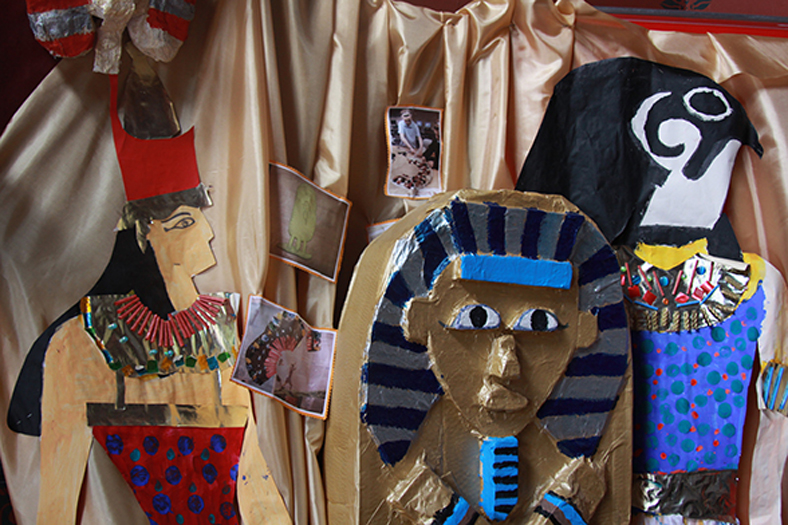 Egyptian-themed masks made by children at the museum