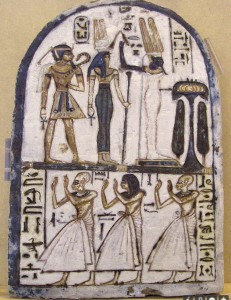 Meretseger with Amun-Ra and the deified Amenhotep I. Turin Cat.1451 / RCGE.5742. Photograph by Su Bayfield.