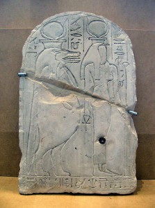 Meretseger and Taweret on the stela of Hay. Photograph by Su Bayfield.