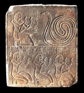 Paneb and family members worshiping Meretseger.  BM EA 272. Copyright Trustees of the British Museum