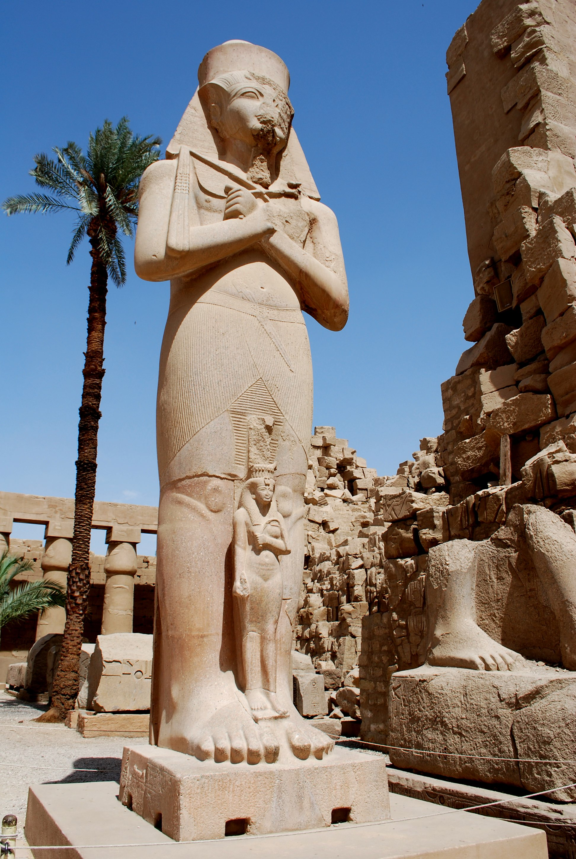 The colossal statue of Pinudjem I from the first court at Karnak