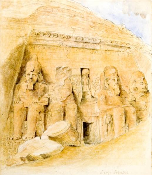 Figure 11. Marianne's watercolour of Abu Simbel