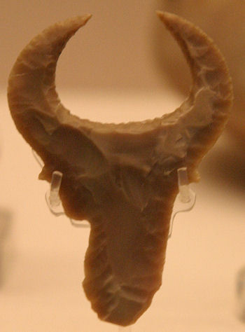 Predynastic carving of a bovid in flint, British Museum. Photograph by Andrea Byrnes