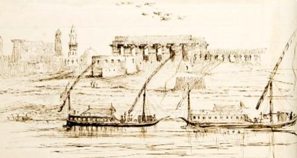 Figure 4. Sketch of dahabeiyas moored in Luxor, by Marianne Brocklehurst