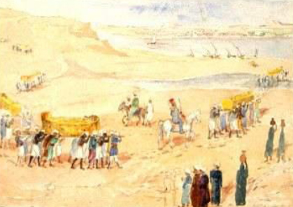 Figure 10. Transportation of the mummies, witnessed and sketched by Marianne