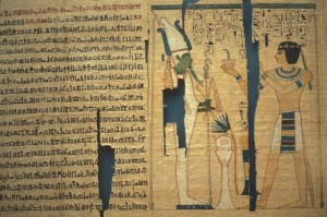 Papyrus Pinudjem II, 21st Dynasty, showing Osiris in profile.