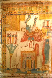 Osiris in a classic Judgement scene in the 19th Dynasty tomb of Neferenpet, Thebes, with arms opposing.