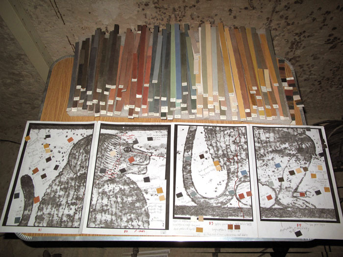 Swatches used to match the colours of the tomb to the facsimile