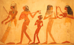 Life goes on: performers sing, play and dance, celebrating the continuation of life in a tomb