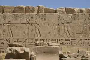 Incised, or sunk, relief was typically used on external surfaces, to make the best use of sunlight and shadow, as on this wall at the Temple of Amun (Karnak).