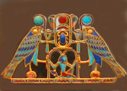"""A piece of jewelry like this pectoral is literally loaded with meaningful religious and mythological symbolism, much of which would be clear even to an ancient Egyptian who could not read. (We will """"read"""" this pectoral later on in this series.)"""